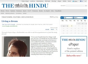 Project Hope in The Hindu.